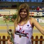 Ludivine Ruffel sur le podium du poids aux Championnats de France en salle 2009 à Aubière