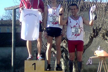 Podium du cross court aux championnats du Tarn de cross 2011 à Vielmur