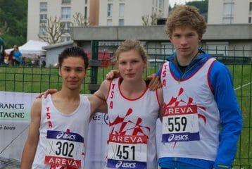Christophe Yamnaine, Camille Defer et son frère Thomas aux championnats de France de courses en montagne 2014 à Chambon-Feugerolles