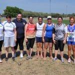 Sandrine Gardes avec le groupe des lanceuses de marteau vétérans aux Championnats du Monde Masters 2015 à Lyon