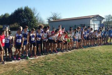Les minimes au départ du cross Jean-Vidal 2015 à Lescure d'Albigeois