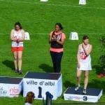 Sandrine GARDES et Ludivine RUFFEL sur le podium du marteau du meeting Music Jump 2016