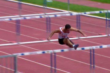 Gaëtan Carpe sur 110m Haies aux Pré-France 2010 à Narbonne