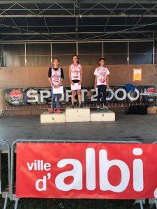 Podium des benjamines au championnats du Tarn de cross 2017 à Albi