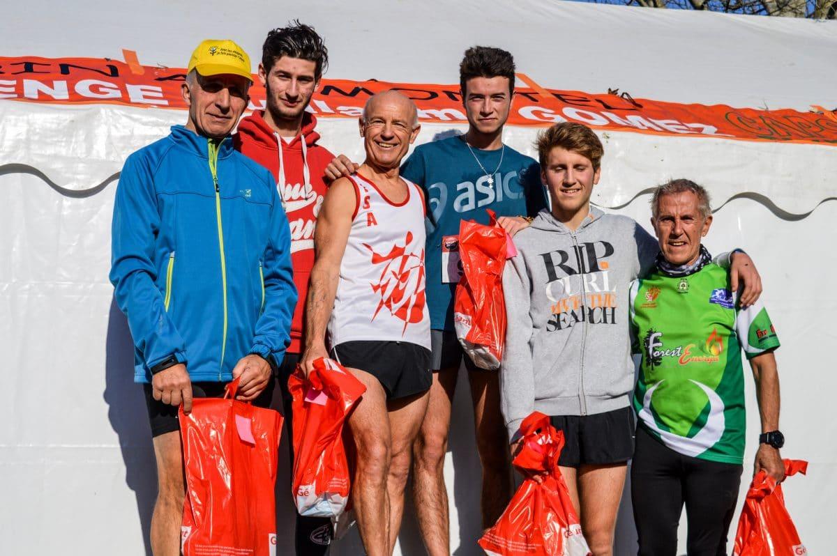 Podium des juniors et vétérans au cross Guillaume Gomez 2016 à Payrin