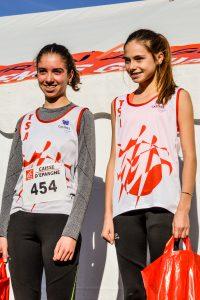 Podium des minimes filles au cross Guillaume Gomez 2016 à Payrin