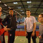 JP coachant ses athlètes aux championnats d'Occitanie Espoirs-Elites en salle 2017 à Bompas