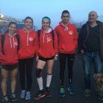 Les 4 mousquetaires du TSA et le coach Patrick Deprez aux championnats de France de cross 2017 à Saint-Galmier
