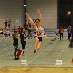 Fanny Mittou au saut en longueur aux championnats d'Occitanie Cadets-Juniors en salle 2017 à Bompas