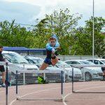 Sarah Teysseyre à l'échauffement du 400m haies au 1er tour des interclubs 2016 à Castres