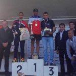 Benoit Galand sur le podium des championnats de France de traildes sapeurs-pompiers 2017 à Vouvant
