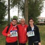 Baptiste Mariojouls et Fanny Mittou avec Jean-Pierre Dardenne aux championnats de France Cadets-Juniors 2017 à Dreux