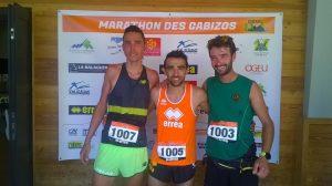 Benoit Galand (au centre) vainqueur du 25km du Marathon des Gazibos 2017 à Arrens-Marsous
