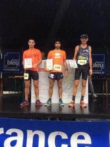 Podium du 14km de la Course des Crêtes 2017 à Espelette, remportée par Benoit Galand