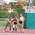 Aurore, Margaux et Isis avant le relais du challenge Équip'Athlé automnal 2017 à Castres