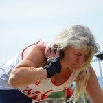 Corinne Ruffel au lancer de poids lors des championnats du secteur centre d'Occitanie sur piste 2017 à Perpignan