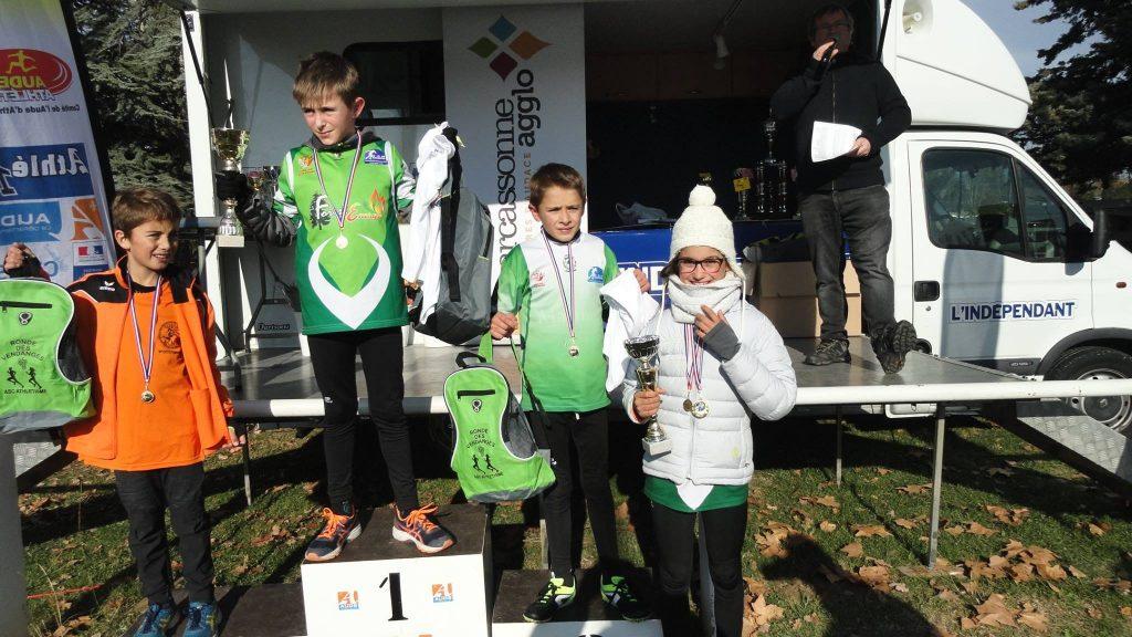 Les 3 médaillés du LAC au cross de la Cité 2017 à Carcassonne