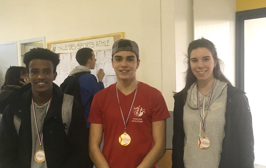 Baptiste Dieudé, Anthony Velasco et Léa Costes champions d'Occitanie en salle 2018 à Bompas