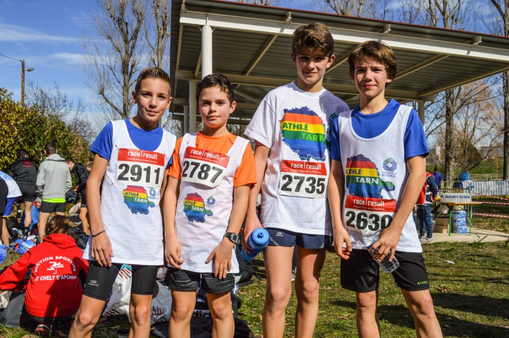 Les 4 benjamins du Castres Athlétisme sélectionnés dans l'équipe du Tarn aux championnats d'Occitanie de cross 2018 à Alès