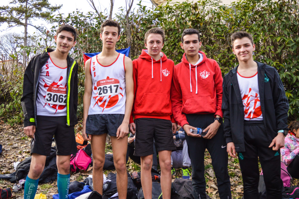 Les cadets du TSA aux championnats d'Occitanie de cross 2018 à Alès