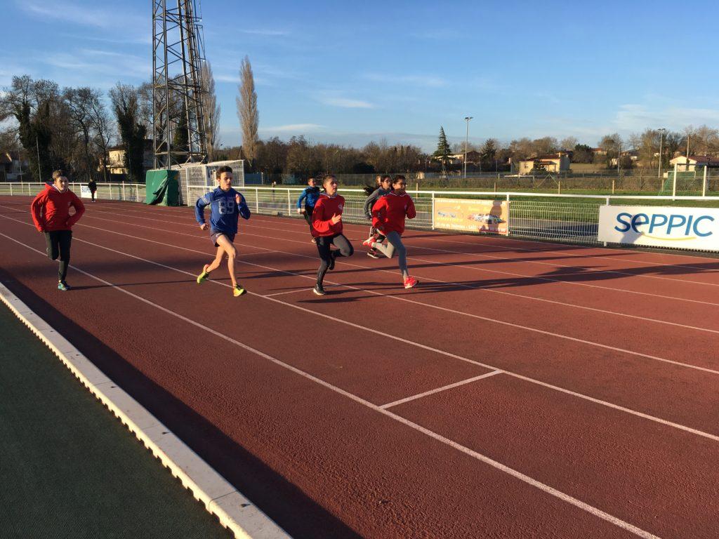 Entrainement benjamins du Castres Athlétisme au stade du Travet