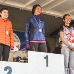 Alexia Vaissette sur le podium des espoirs féminins aux championnats d'Occitanie de cross 2018 à Alès