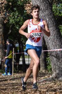 Guerric Mérimée sur la course des minimes aux championnats d'Occitanie de cross 2018 à Alès