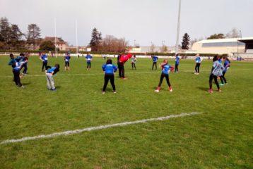 Échauffement des poussins du castres Athlétisme à la 3ème journée du challenge départemental Poussins 2018 à Graulhet