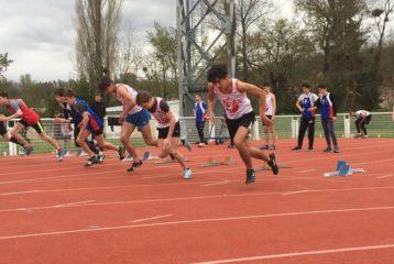 Départ du 100m minimes masculins à la 1ère journée du brassage Benjamins-Minimes 2018 à Carmaux