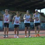 Quatuor de sprinters du TSA au meeting du SATUC 2018 à Toulouse