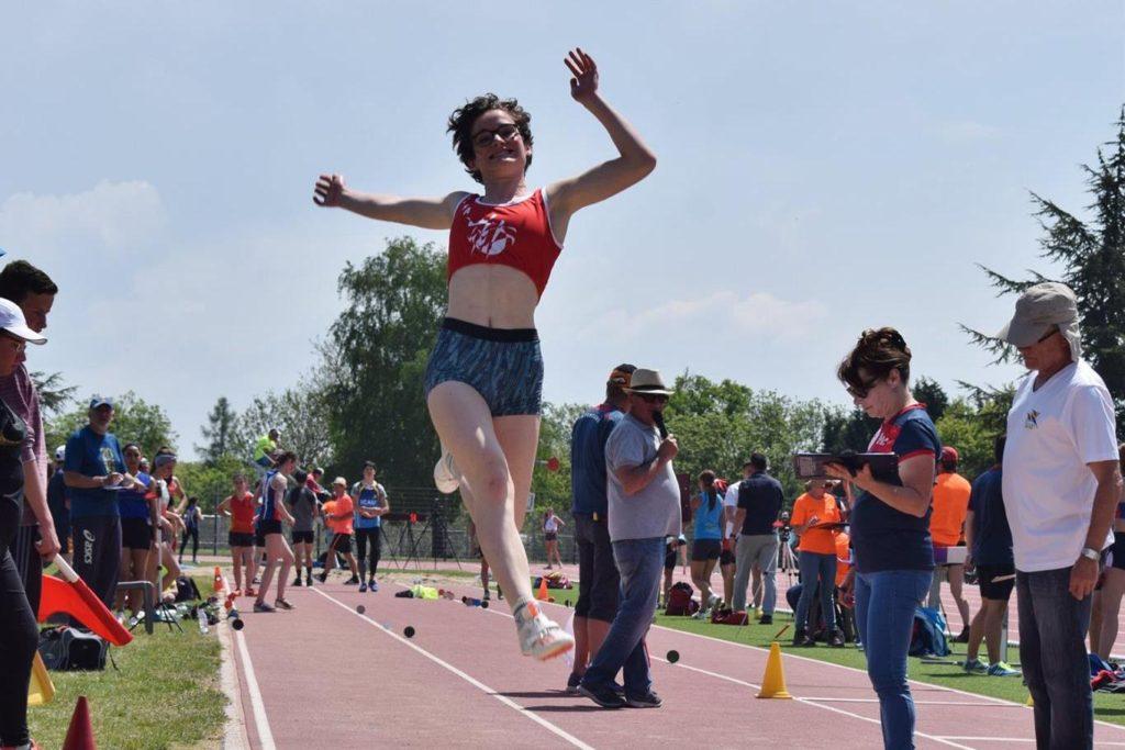 Fanny Mittou au saut en longueur lors du 1er tour des interclubs 2018 à Rodez