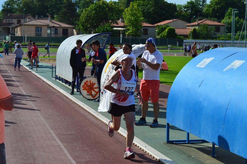 Marie-José Fabas au 3000m à la finale interclubs 2018 à Castres