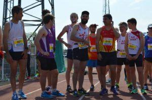 Steve Rémi et Bruno Bernard au départ du 5000m marche lors de la finale interclubs 2018 à Castres
