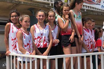 Podium du relais 4x60m des benjamines au championnats du Tarn sur piste 2018 à Carmaux