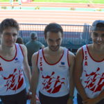 Loic Bardou, David Grand et Anthony Velasco avant le 200m au meeting Music Jump 2018 à Albi