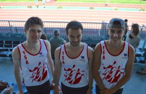 Loic Bardou, David Grand et Anthony Velasco avant le 200m au meeting Music Jump 2018 à Albi