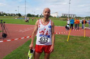 Patrice Vieu après son 1500m aux championnats de France Masters 2018 à Angers