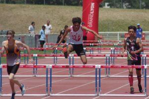 Lucas Marquier au 100m haies à la finale nationale des Pointes d'Or 2018 à Vénissieux