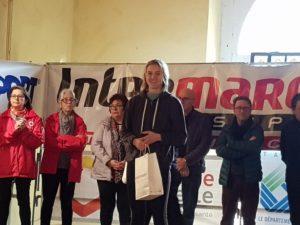 Mathilde Bastoul sur le podium junior du cross Hubert André 2018 à Blaye-les-Mines