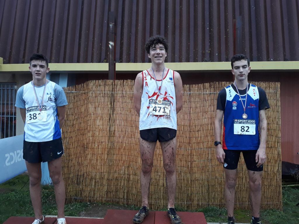 Antoine Danieau et Maxime Fabre sur le podium cadets des championnats du Tarn de cross 2019 à Florentin