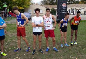 La famille Danieau au départ de la course des cadets au cross de la Cité 2018 à Carcassonne