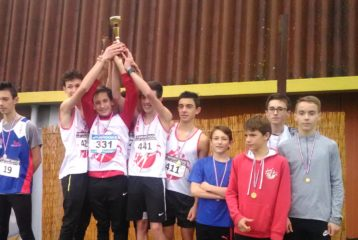 Podium des minimes du TSA aux championnats du Tarn de cross 2019 à Florentin