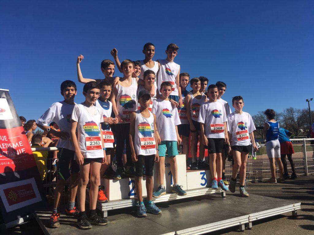 Équipe benjamins du Tarn vice-champions d'Occitanie de cross 2019 à Caussade