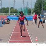 Aurore Mur au saut en longueur lors des championnats du secteur Ouest d'Occitanie sur piste 2019 à Toulouse