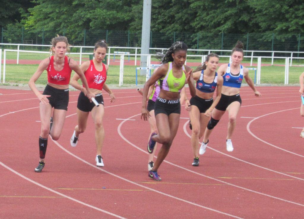 Relais 4x100m féminin aux championnats de secteur 2019 à Toulouse